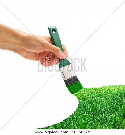 Drawing the green grass. Element of design.