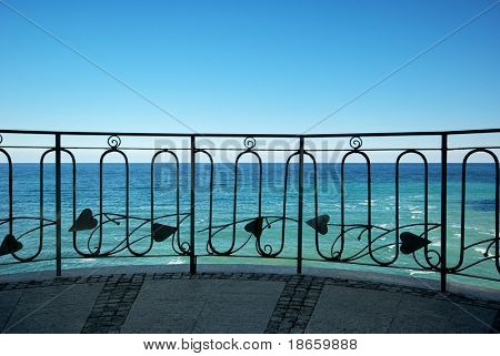Balcony to the sea. Nature composition.