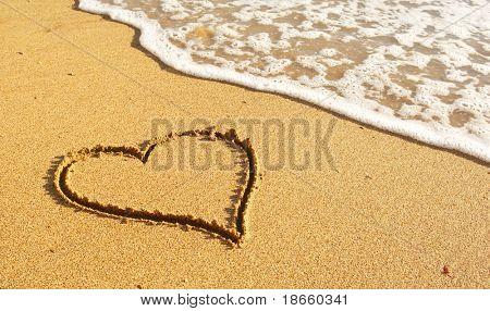 Heart on the sand beach. Conceptual design.