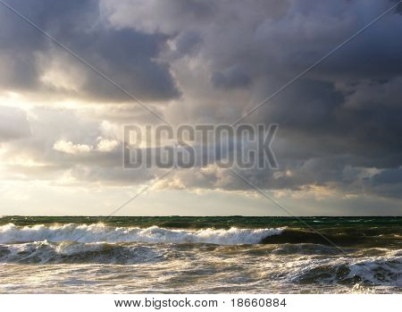 Storm on the sea. Nature composition.