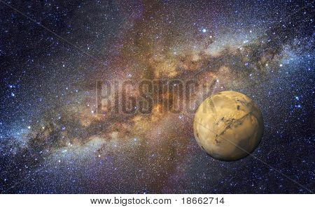 Mars on Milky Way background