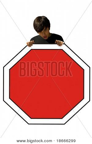 Young man, holding a stop sign