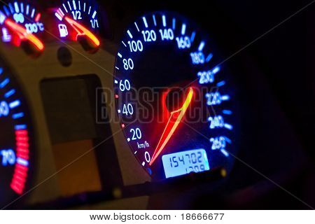 vehicle, gages, neon look blue and red, auto series