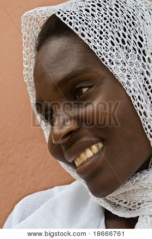 Young  African muslim woman, from Zimbabwe