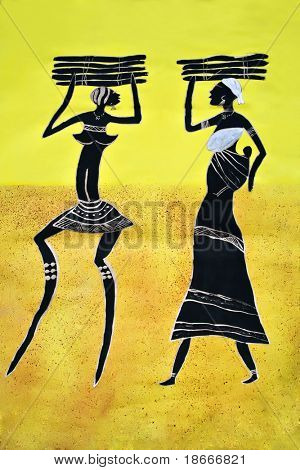 African art tribal, painted on textile material, family mothers and child carry wood