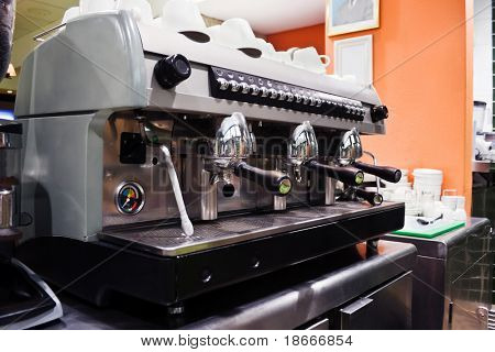 Professional espresso machine in a coffee shop