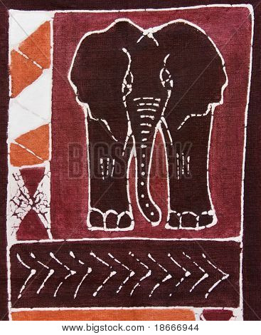 Elephant and traditional african motifs painted on rugged textile