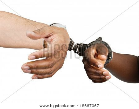 handcuffed Hispanic man hands and African woman isolated on white background