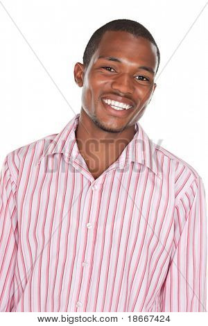 young handsome african american man isolated on white