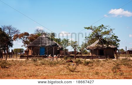 typical household from Southern Africa,Botswana, SouthAfrica, rondaveles with thatched roof