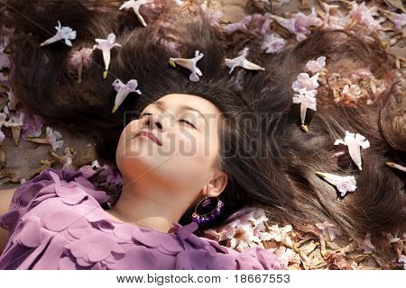 Beauty Asian Woman Asleep