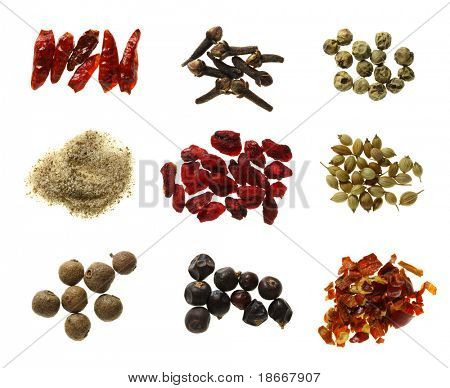 a little bit of super macro spices series - bird eye chilli pepper, cloves, green peppercorns, celeric salt, pomegranate, white coriander, allspice, juniper berries, red hot chilli pepper