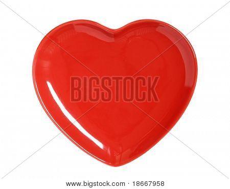 rojo brillante placa corazón aislado en blanco perfecto para el día de San Valentín