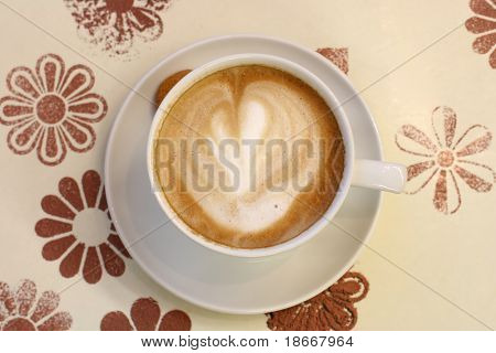 Cafe - coffee Latte Cappuccino cup on beige tray,top view, soft focus