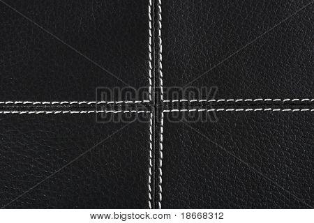 Fondo de cuero negro cosido encima de hilo blanco