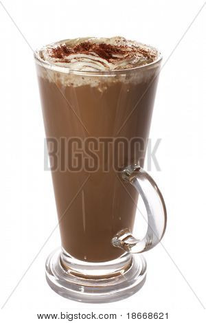tall cup of fresh coffee latte with whipped cream, isolated on white