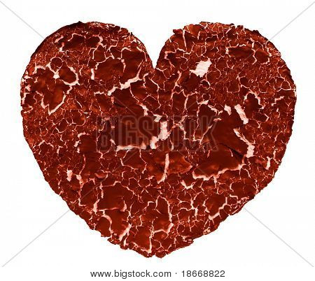 cracked painted Heart shape, isolated on white
