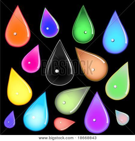 many different multicolored water drops on black background vector