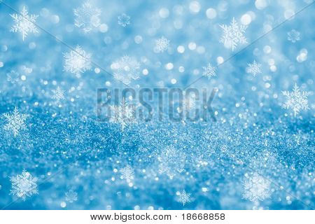 blue glitter sparkles snow flakes background , super macro shot, shallow DOF