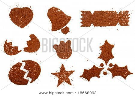 Cocoa powder in festive symbols shape. Make you own topping on sweets and coffee, isolated on white