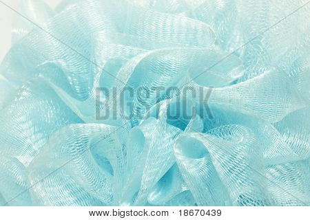 Textured Background Of Blue Bath Puff