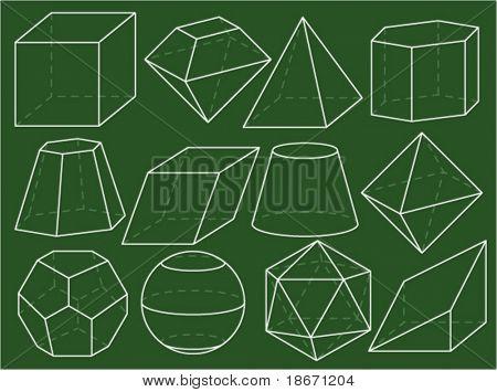 Geometrical figures on green blackboard