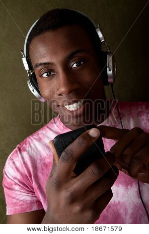 Man Selects Music On His Mp3 Player