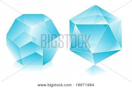 Blank translucent 3d shapes design illustration