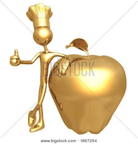 Golden Chef Baker With Golden Apple