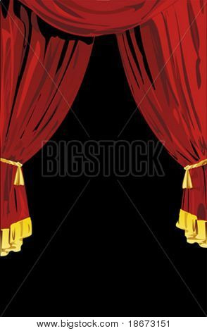 Open Red Theatrical Curtains