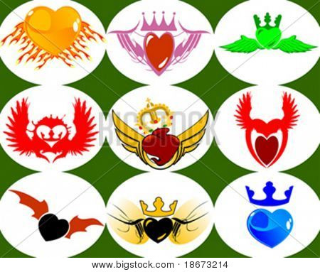 Nine Brand New Crown Hearts on the Wings. Vector Illustration. No Meshes.