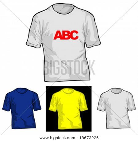 Color and White TShirt Templates. Vector Illustrate. No Meshes.