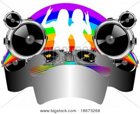 Twin? Girls Silhouette, Turntable, Sound, Rainbow and Banner. Vector Illustration. No Meshes.