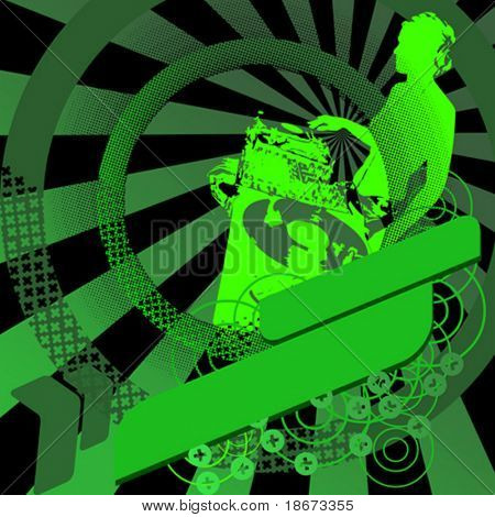 Green Girl DJ and Banner. Vector Illustration. No Meshes.