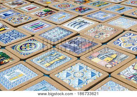 LISBON, PORTUGAL - APRIL 25: Traditional portuguese colorful tile trivets on April 25, 2017