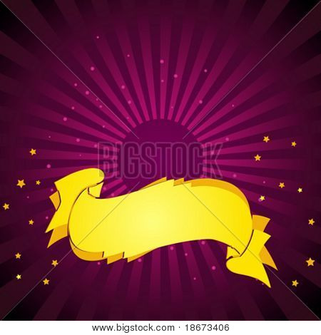 Deep Purple Background. Gold Banner. Vector Illustration. No Meshes.