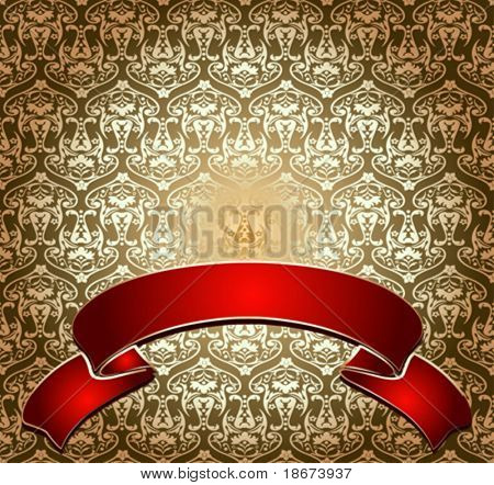 Red On Gold Ornate Banner