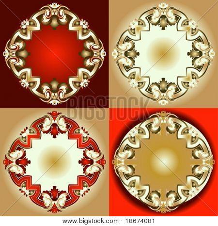 Red Gold Ornament Design Elements. vector illustration