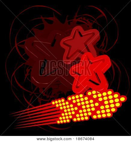 Abstract  Red Stars and Arrow