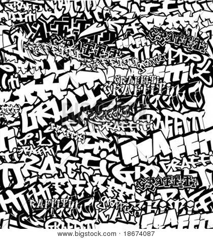 Black And White Seamless Graffiti Background