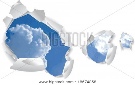Blue Sky Clouds Over Paper Holes. Vector Illustration. No Meshes.
