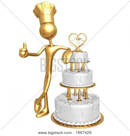 Golden Chef Baker With Wedding Cake