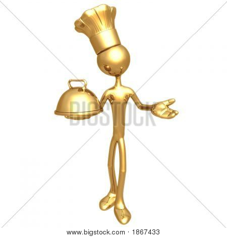 Golden Chef Baker With Serving Tray