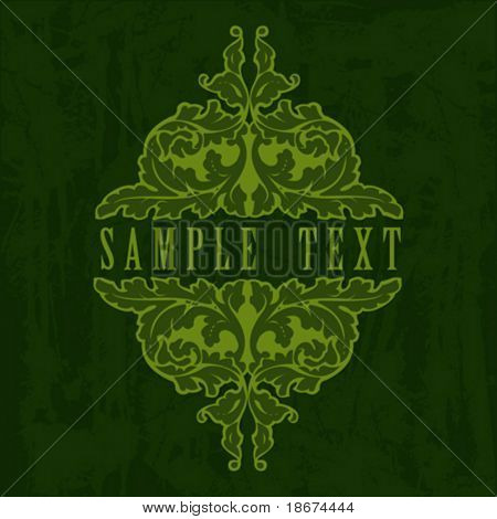 Green Ornate Grunge Quad