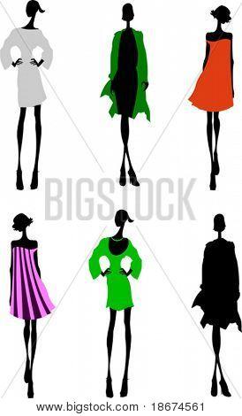 Fashion Girls Designer Silhouette Sketch