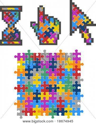 Colores vibrantes Puzzle equipo cursores. Ilustración del vector.