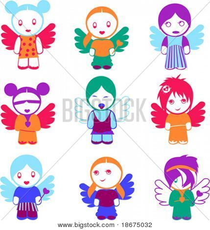 Set Of Nine Colorful Angel Girl Dolls.