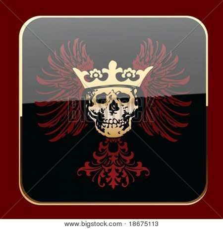 Glow Black Crowned Skull on Red Wings. Vector Illustration.