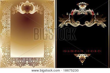 Dos fondos reales adornados de oro y negros