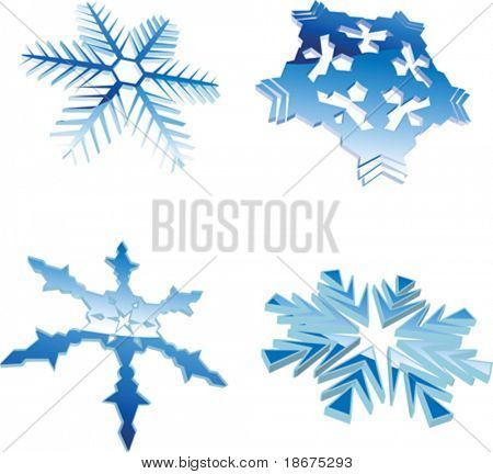 Set Of Glow Blue Winter 3D Snowflakes